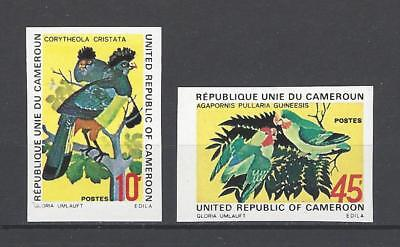 Cameroun 1972 Sc#554-5  Blue Touraco/Red-Faced Lovebirds MNH Set Imperf $5.50