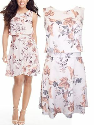 Womens Sleeveless Chiffon Tiered Floral Skater Dress with Wrap Style Skirt 10-16