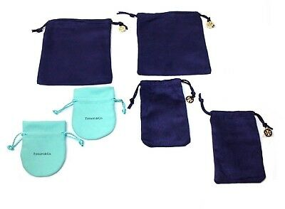 [Lot] TORY BURCH (4) + TIFFANY & CO (2) Drawstring Jewelry Dust Bag Gift Pouch
