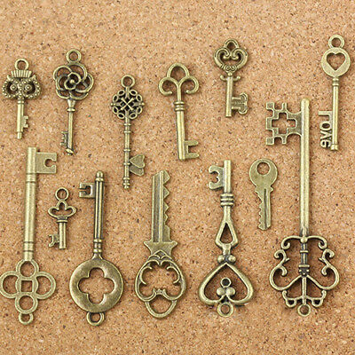 UK_ 13Pcs Antique Old Look Bronze Keys Vintage DIY Pendant Metal Charms Decor Ea