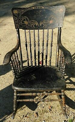 Victorian Aesthetic Movement / Mission  Pressed Back Oak Rocking Chair Rocker