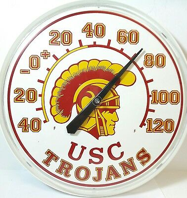 Vintage Usc Trojans Football Large Wall Hanging Dial Thermometer  Memoribilia