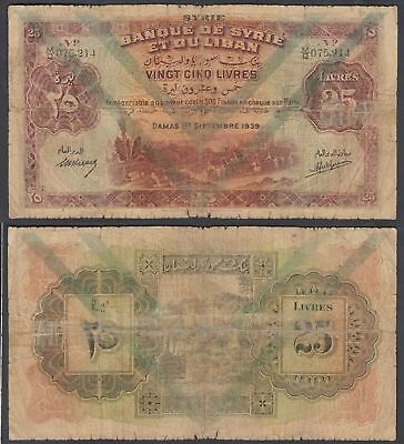 Syria 25 Livres 1939 (G-VG) Condition Banknote P-43c