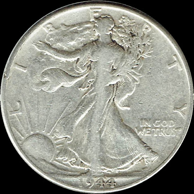 "A 1944-D Walking Liberty Half Dollar 90% SILVER US Mint ""Average Circulation"""