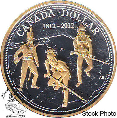Canada 2012 $1 200th Ann. of the War of 1812 Proof Gold Plated Silver Dollar