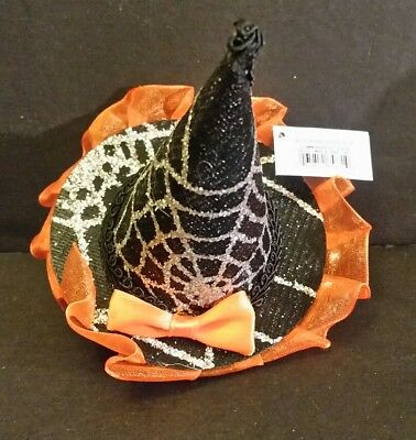 MINI WITCH Hat orange trim and black hair clip by Ganz EH41700