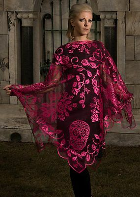 Halloween, Day of the Dead SUGAR SKULLS PINK Poncho by Heritage Lace SUP-PK USA