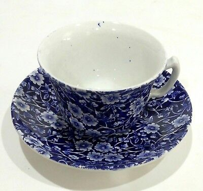 Vintage Crownford China Co Staffordshire England Calico Blue Chintz Cup & Saucer