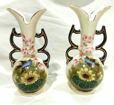 2 Small Antique Aesthetic Movement Hand Painted Porcelain Bird & Flower Vases