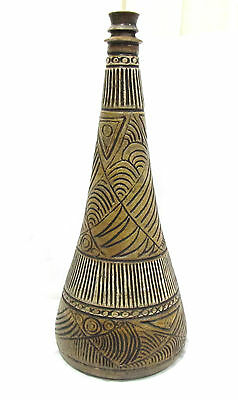 Great Mid Century Modern Stoneware Incised  Art Pottery Candlestick/ Lamp Base