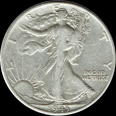 "A 1943-P Walking Liberty Half Dollar 90% SILVER US Mint ""Average Circulation"""