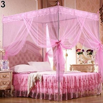Insect Repellent Canopy Mosquito Nets Four Corner Post Bugs Queen King Size Beds