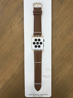 NEW! Genuine Leather Apple Watch Band 38mm - Brown Leather with Gold Hardware