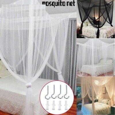 Mosquito Nets Over Sized Black White Beige Four Corner Post Beds Canopy Camping