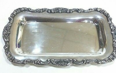 Poole 414 Silver Plate Lancaster Rose Floral And Scroll Bread Tray Server