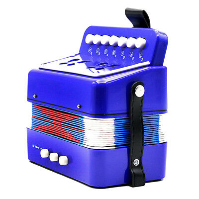 Kids Piano Accordion 7 Keys Toy Musical Instrument for Early Education Blue