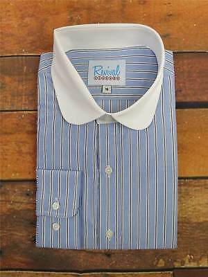 Blue Stripe Club Collar 1930s 40s Vintage Style All Cotton Peaky Blinders Shirt