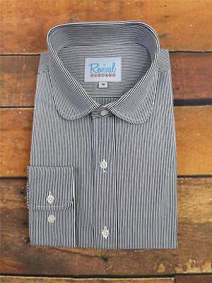 Navy Stripe Club Collar 1930s 40s Vintage Style All Cotton Peaky Blinders Shirt