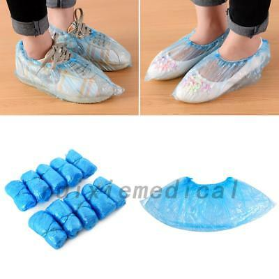 100x Disposable Plastic Blue Anti Slip Shoe Covers Cleaning Overshoes Protective