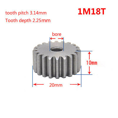 1Mod 18T Spur Gear 45# Steel Motor Gear Thickness 10mm Outer Dia 20mm x 1Pcs