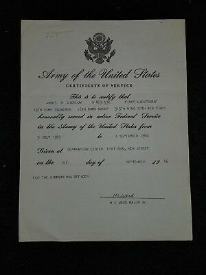 WWII USAAF Certificate of Service 15th Bomb Squadron 16th Bomb Group