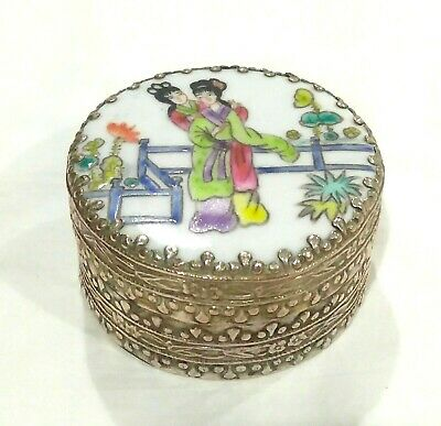 Chinese Porcelain Two Ladies & Silver Plated Copper Shard Box Trinket Box
