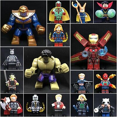 2019 16 Pcs set Marvel Avengers 4 Captain Marvel Hulk Thanos Minifigure fit Lego