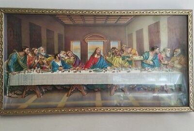 Vintage The Lord's Supper 3D Picture Gold Metal Framed Plastic Dimensional Art