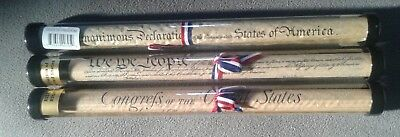 DECLARATION OF INDEPENDENCE U.S. CONSTITUTION  BILL OF RIGHTS REPLICAS in Tubes
