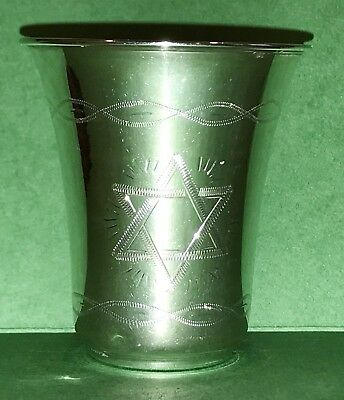 Art Sterling Silver Mexico Shot Glass Cup Signed Judaica Kiddush Cup