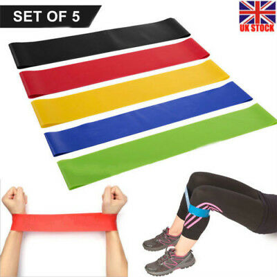 5Pcs Resistance Bands Loop Set Exercise Sports Fitness Home Gym Yoga Latex Set 7