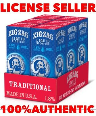 zig zag e USA Liquid (TRADITIONAL)6 bottles each 10ML(60ML)1.8% 100% AUTHENTIC