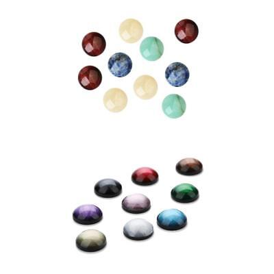 10 Pieces Half Round Natural Stone 8mm +30 Pcs Resin Embellishment 12mm