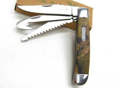 Elk Ridge Camo Gentleman's 3 Blade Folding Guthook Pocket Knife ER-089C