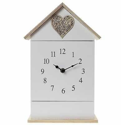 6 Hook Wall Mounted Clock Love Heart House Shape With Key Holder Free Standing