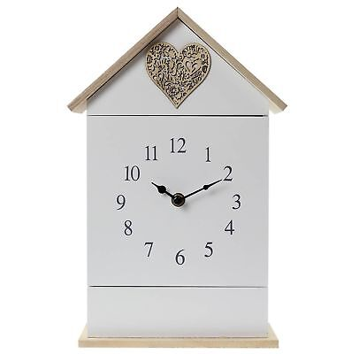 Wall Mounted Clock Free Standing Love Heart House Shape With Key Holder 6 Hook