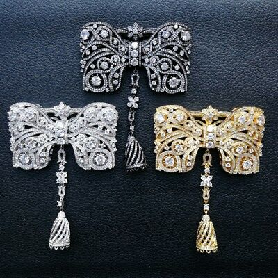 1pc  gold plated Cz micro bowknot  Charm tassel Pendant  DIY Jewelry Findings