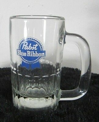 Vintage Pabst Blue Ribbon Beer Mug 10 Ounces D Handle Heavy Domed Bottom Rare