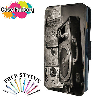 VINTAGE WOODEN RECORD MUSIC PLAYER BOX - Leather Flip Wallet Phone Case Cover
