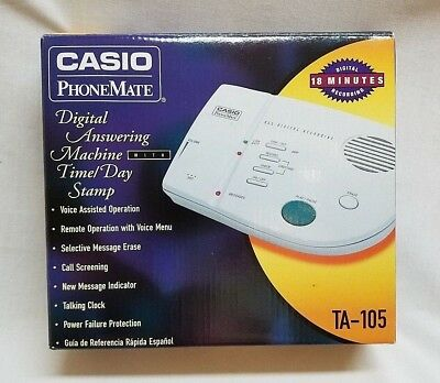 Casio PhoneMate TA-105 Digital Answering Machine w Time / Day Stamp Instructions
