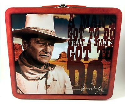 "John Wayne ""A Man's Got To Do"" Carry All Tin Tote Lunchbox The Duke 2012 Western"
