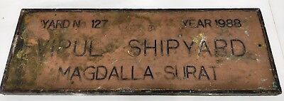 rare vintage marine brass ship salvage name plate of vipul shipyard year 1988
