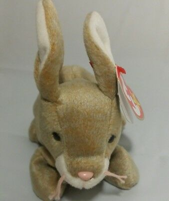 TY Nibbly Bunny Beanie Baby Gray Tan Rabbit  Birthday May 7 1998 Easter Bunny