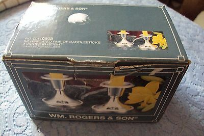"""W.M. Rogers & Son silver plated candlestick holders 3""""  in original box  #"""
