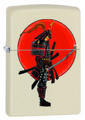 Zippo Japanese Warrior Samurai Custom Lighter with Bloody Sword Cream Matte New