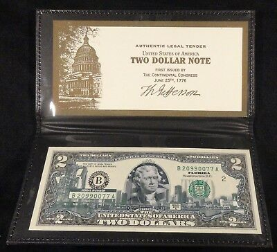 2003-A $2 two Dollar Bill Florida Enhancement by World Reserve Leather Folder