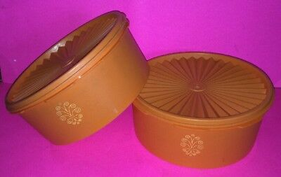 Lot of 2 Vintage Orange Tupperware Stacking Canisters (1204)