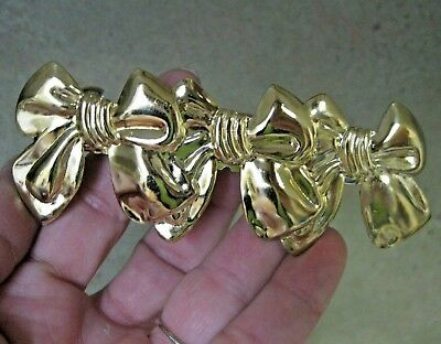 Vtg New Gold Bows Lightweight Victorian Metal Hair Barrette French Clip Ornate