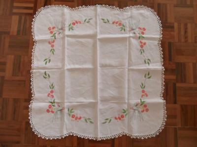 Vintage Hand Embroidered Linen & Lace Tablecloth Australian Wildflowers Gumnuts