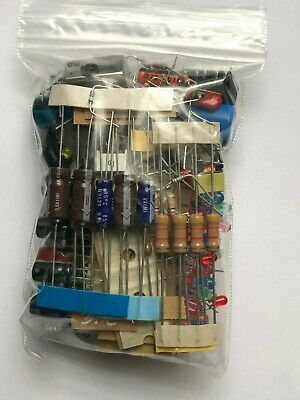 Mixed lot Grab Bag Electronic Components Caps Resistors Semicondictors IC LEDs +